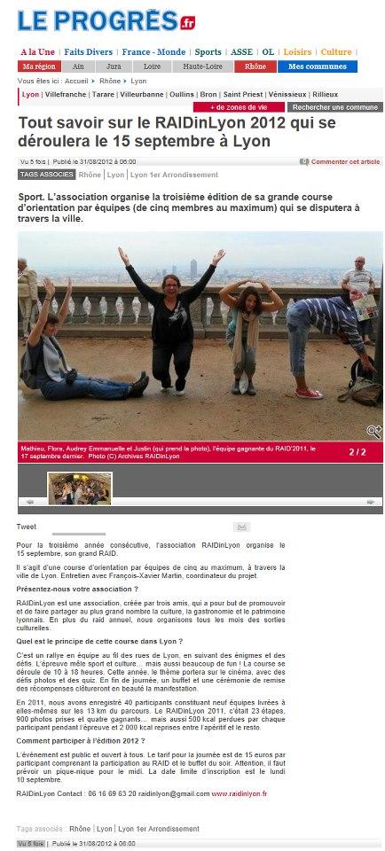 Le PROGRES | AOUT 2012 |