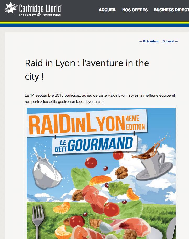 CARTRIDGE WORLD | AOUT 2013 | RAIDinLyon JEP
