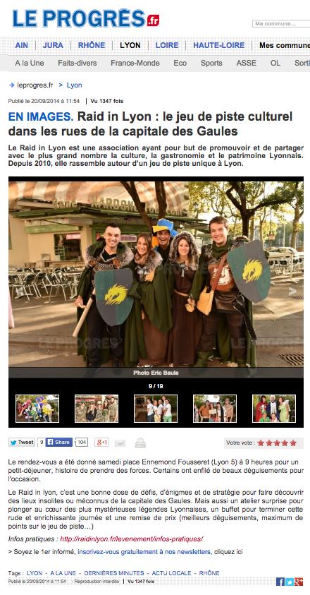 LE PROGRES | SEPTEMBRE 2014 | RAIDinLyon JEP